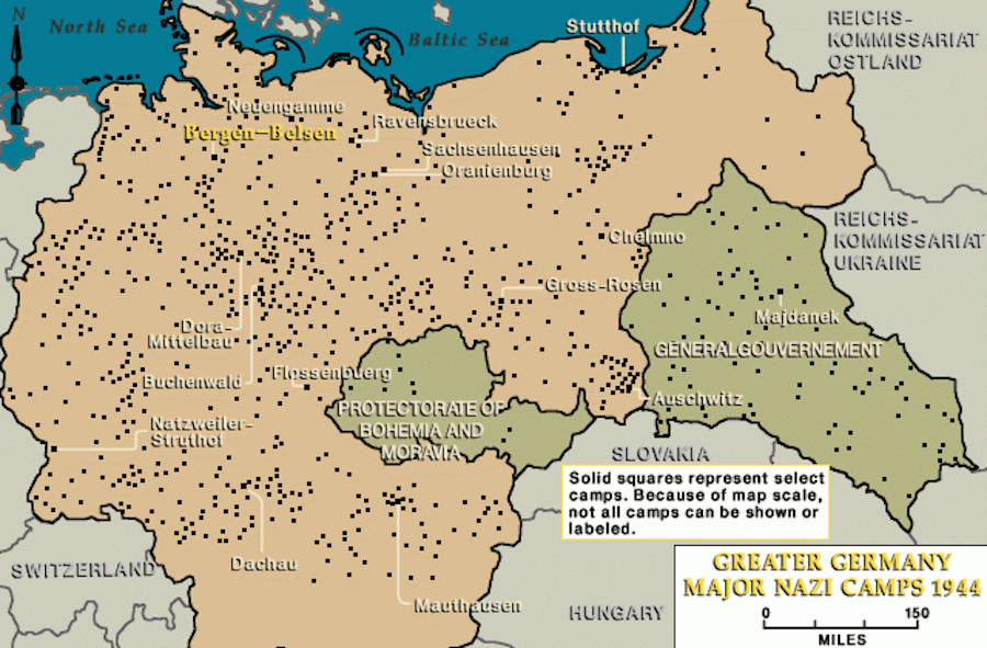 Map Of Nazi Concentration Camps
