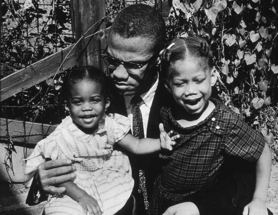 Malcolm X With His Daughters