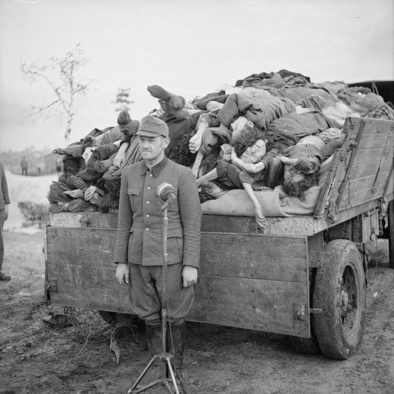 SS Officer With Dead Bodies At Bergen-Belsen Concentration Camp