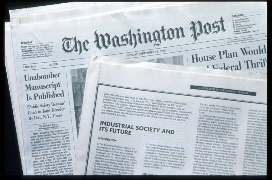 The Unabomber's Manifesto In The Newspaper