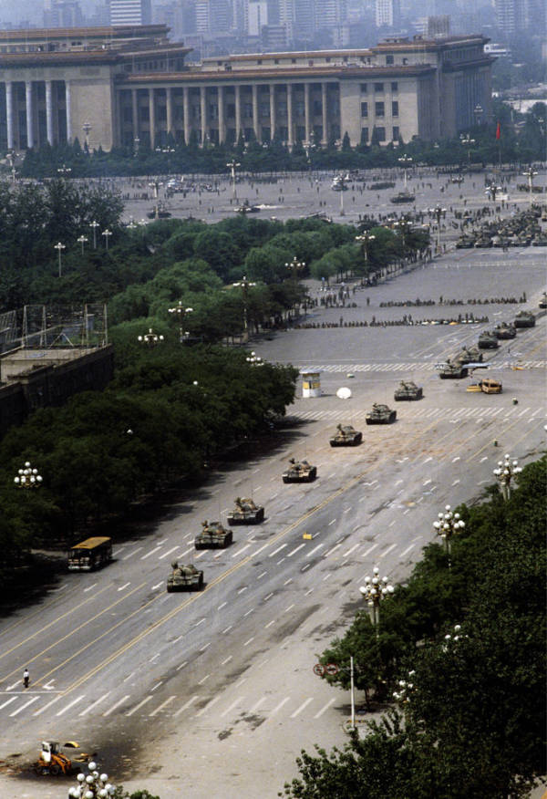 Army Tanks Advance Toward Tank Man