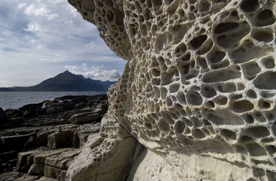 Trypophobia Pattern On A Rock Formation
