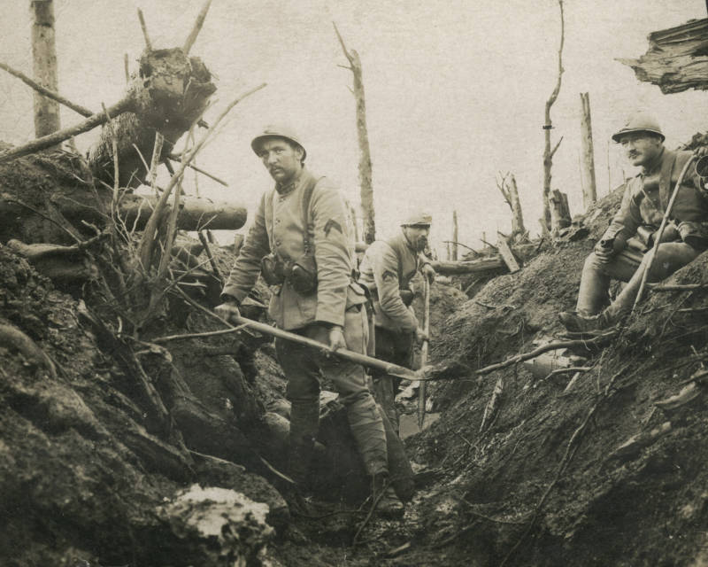 Soldiers In Destroyed Trench