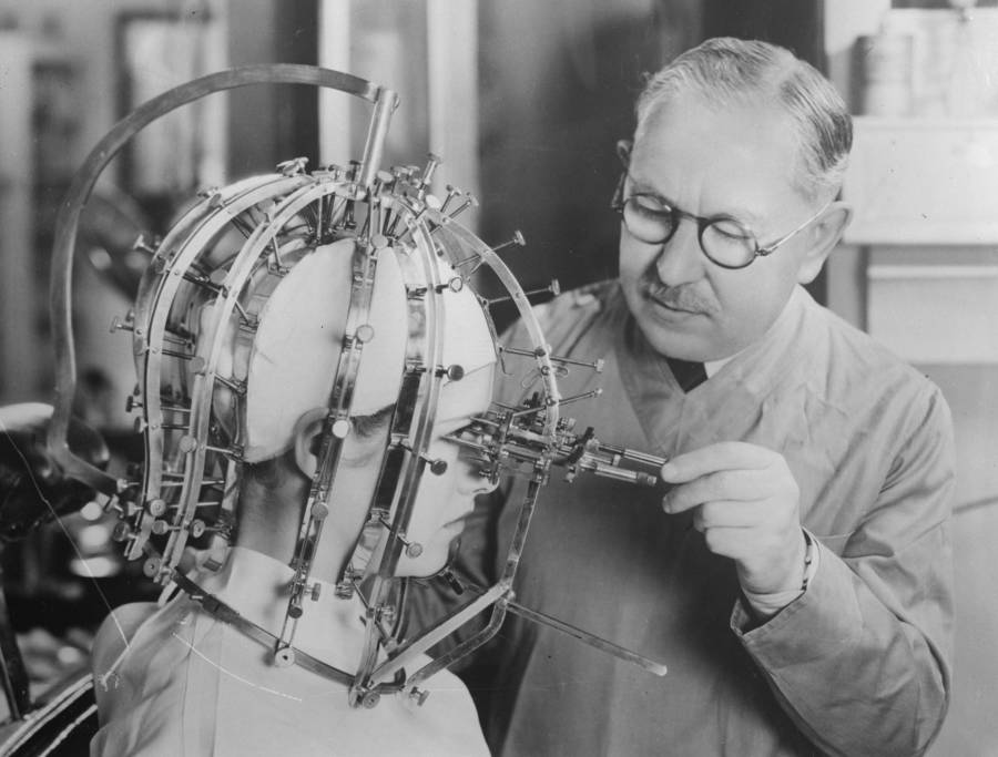 Woman Wears A Head Measuring Device