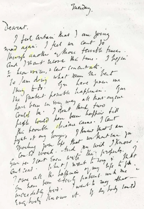 Virginia Woolf's Suicide Note