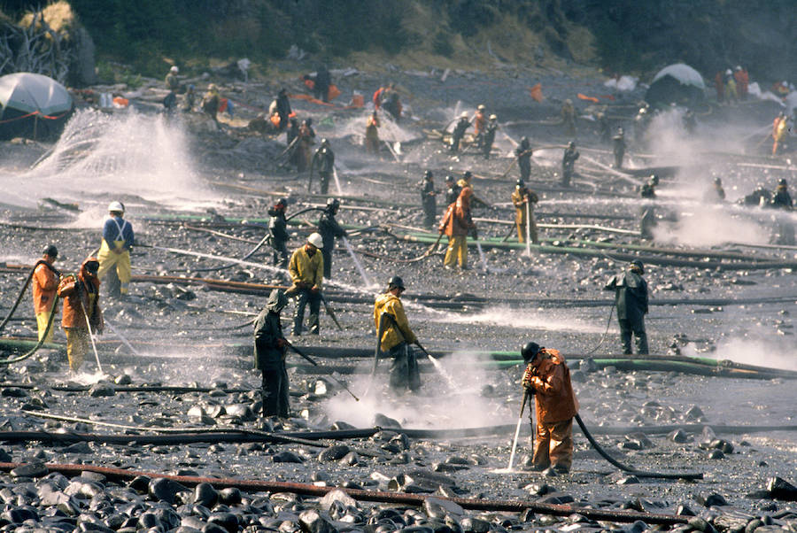 Workers Hose Shores of Prince William Sound After Exxon Valdez Oil Spill