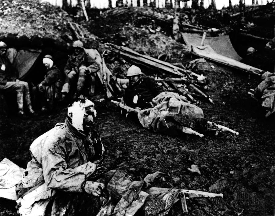 Wounded Soldiers Lie In Trenches