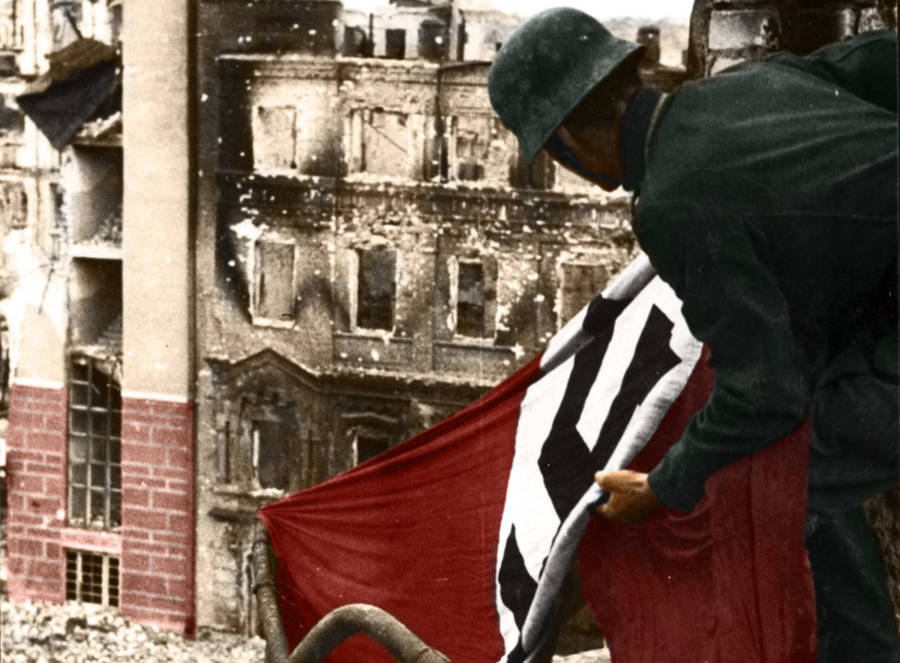 A Man With A Nazi Flag