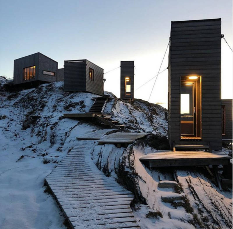 Rectangle Hotel Rooms On Icy Cliff