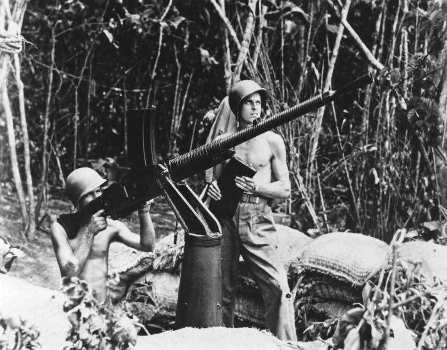 American Marines With Japanese Machine Gun At Guadalcanal