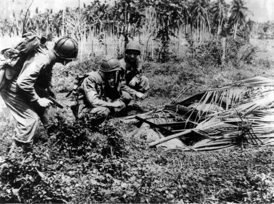 Marines Discover Booby Trap Set In Guadalcanal Jungle
