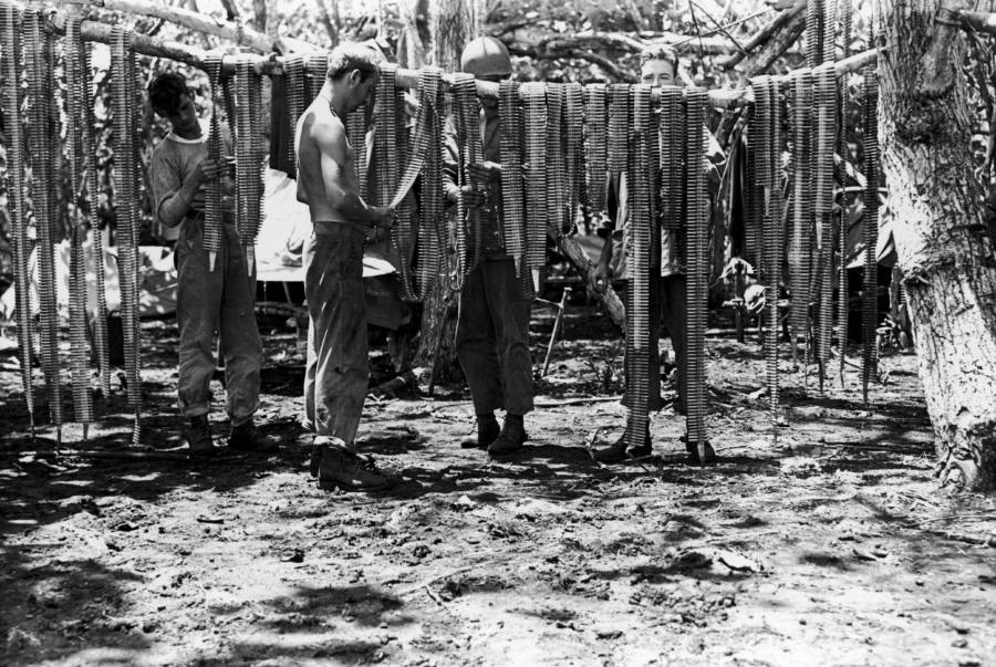 Marines Drying Machine Gun Ammo At Guadalcanal
