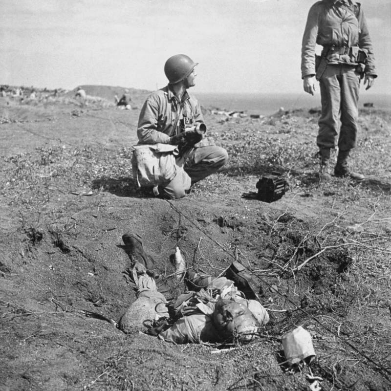 Marines Next To Body Of Dead Japanese Soldier