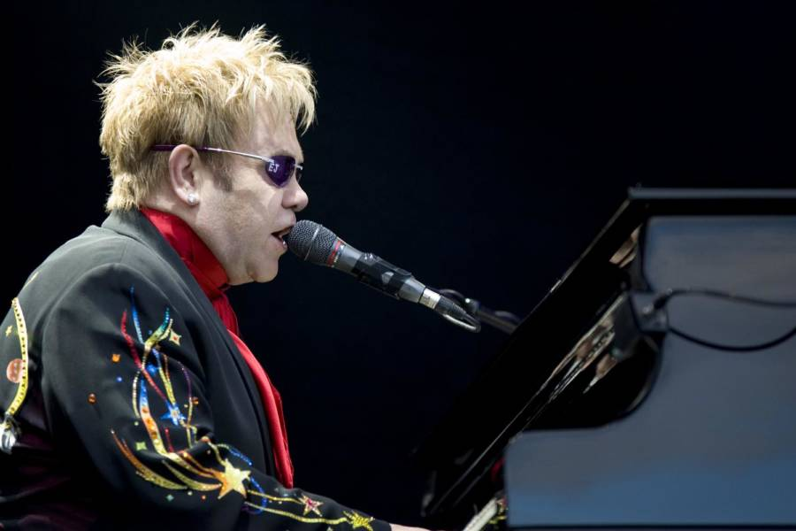 Picture Of Elton John Singing On Stage