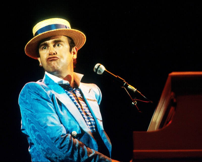 Elton John Performs In Blue Suit
