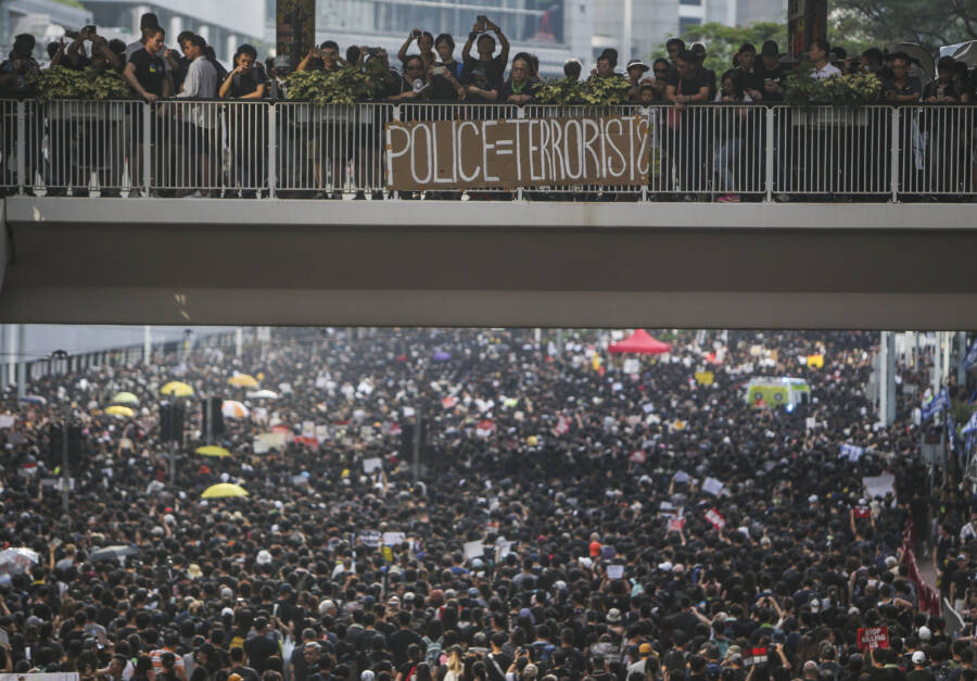 Hong Kong Protests Police Sign