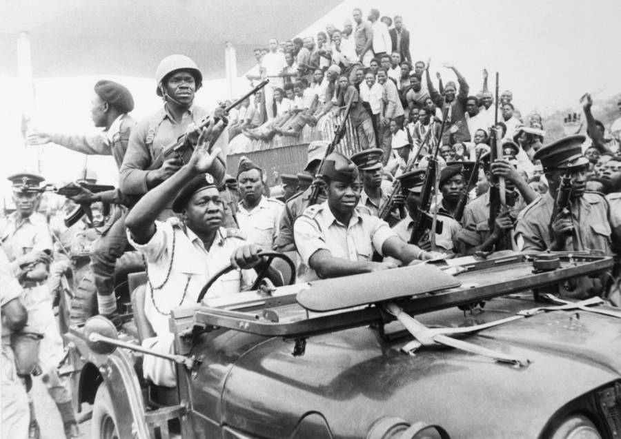Idi Amin Drives Military Jeep