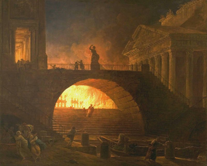 Incendie A Rome Painting