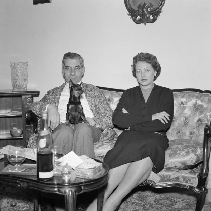 Lucky Luciano With Dog And Wife In Naples