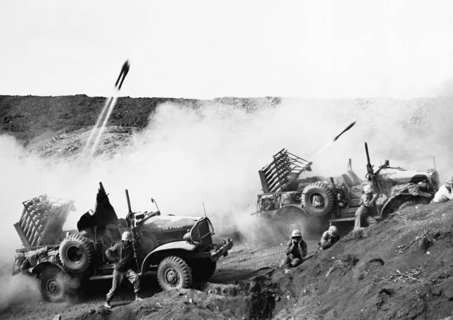 American Jeeps Firing Rockets At Japanese Forces