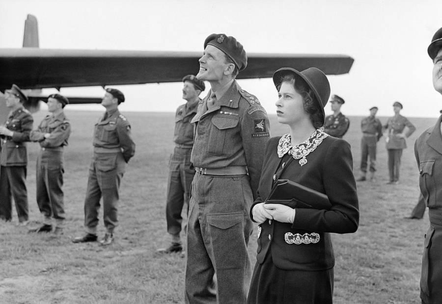 Princess Elizabeth Watches Airborne Troops