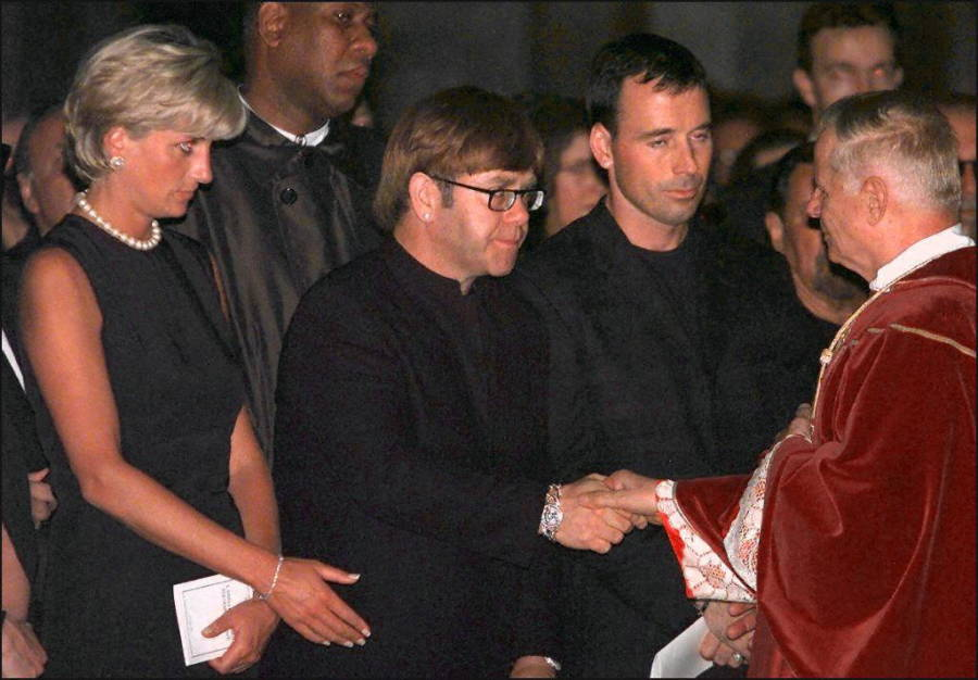 Princesss Diana And Elton John With Archbishop