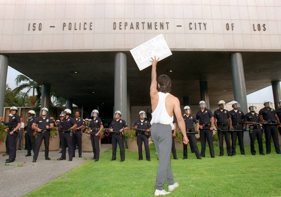 Protester In Front Of LAPD Precinct