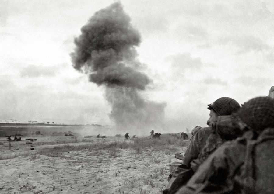 Shell Explodes During Normandy Invasion