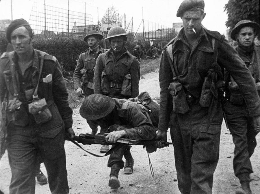 WWII Soldier Wounded On Sword Beach