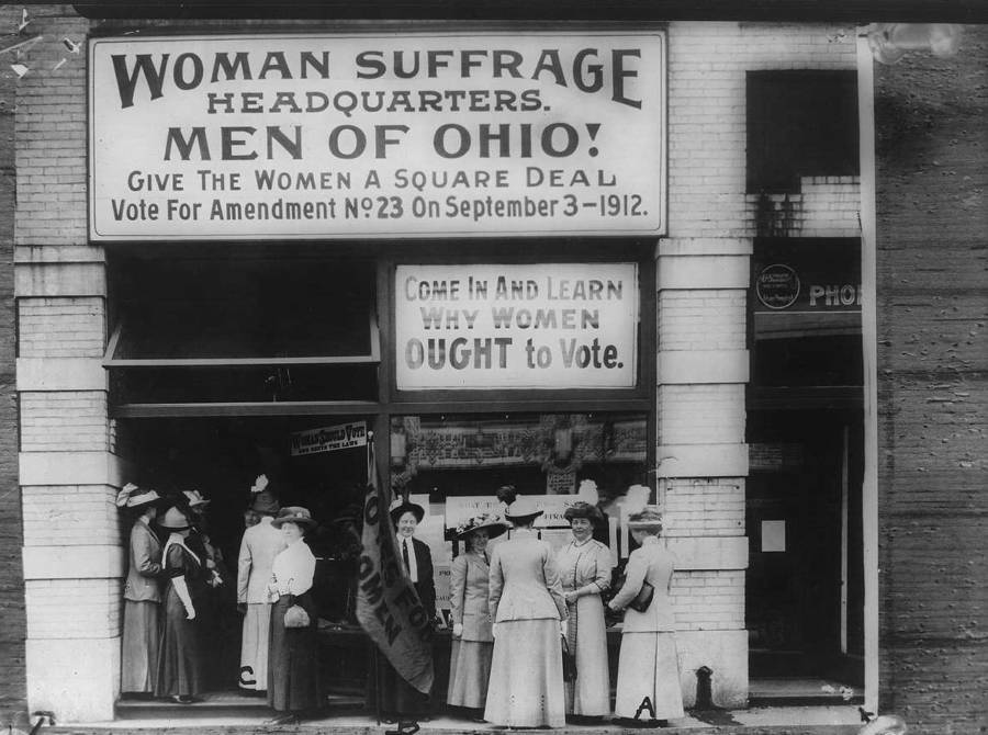Outside American Suffragist Headquarters