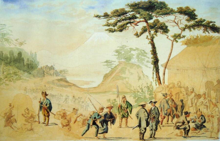 Brunets Painting Of Rebel Samurai Troops