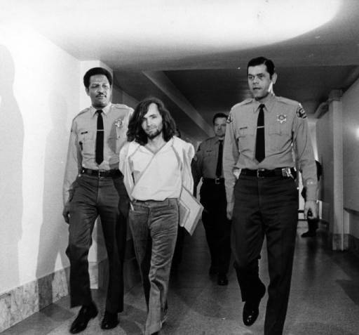 Charles Manson escorted from court in 1970
