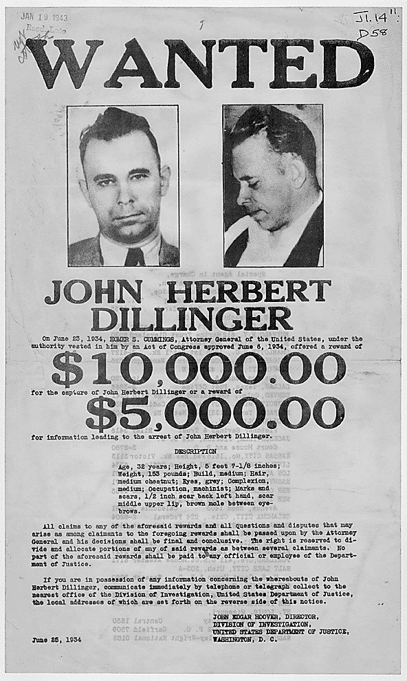 FBI Wanted Poster For Dillinger