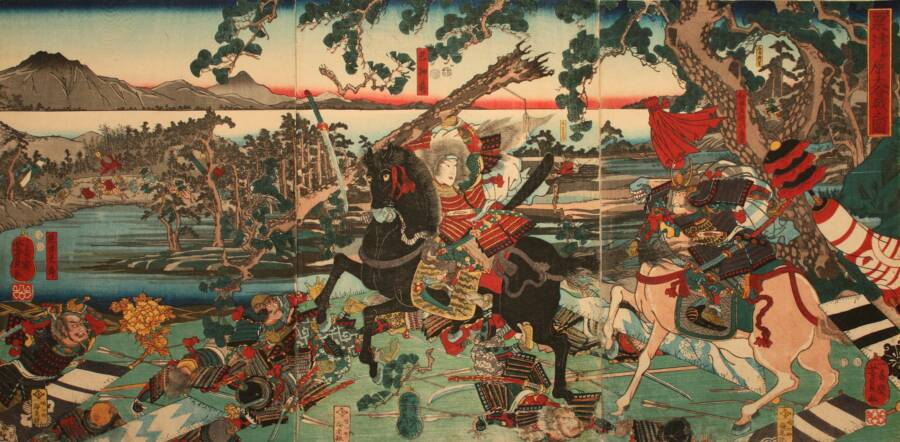 Tomoe On Horseback And Sword Raised