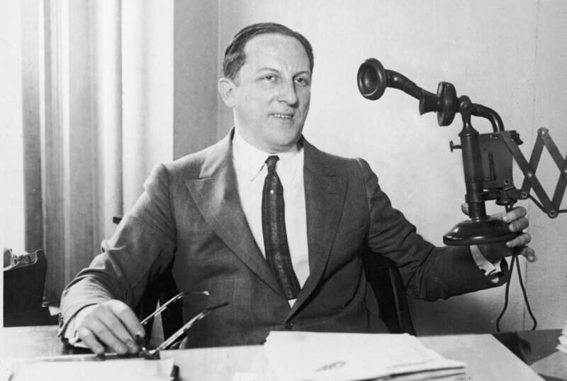 Arnold Rothstein In Suit Holds Old Timey Phone