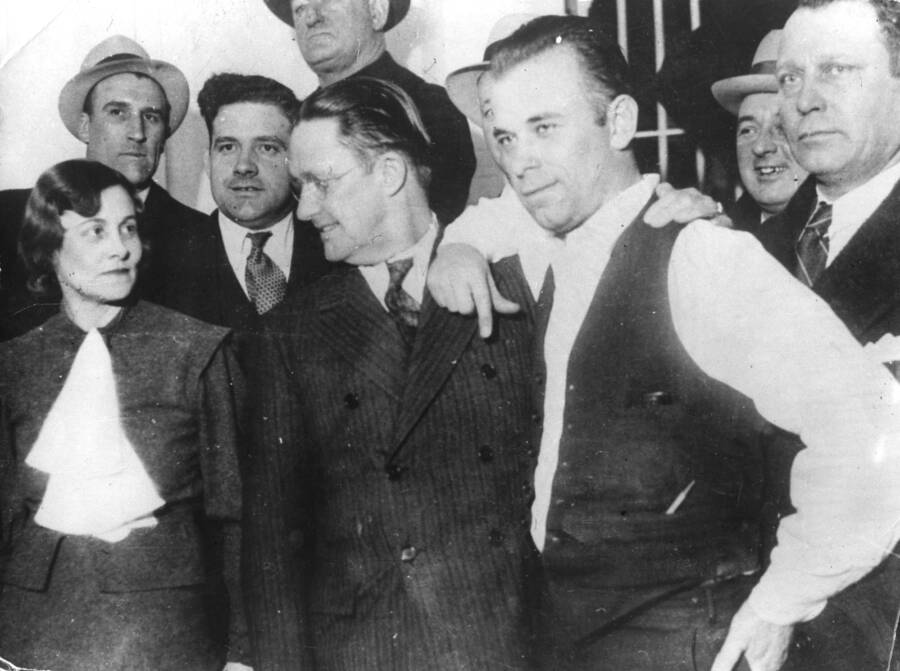 John Dillinger With Crown Point Prosecutor And Jailor