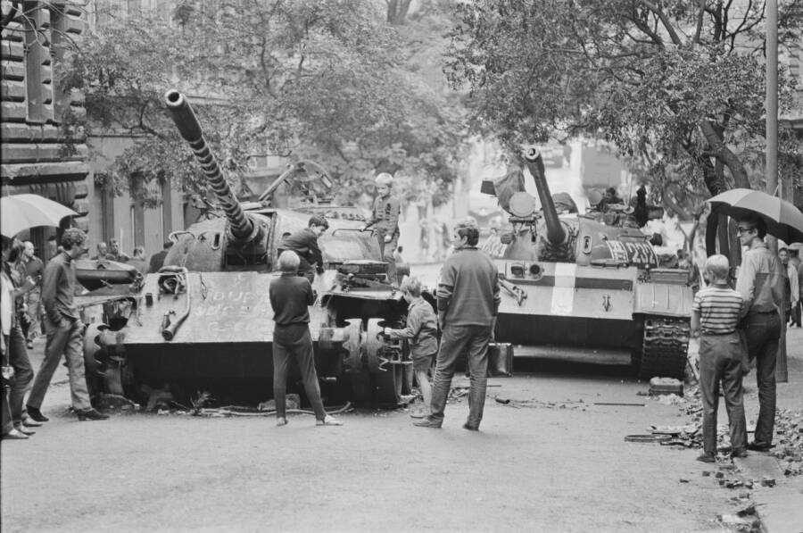 Kids Climb Soviet Tanks During Prague Spring