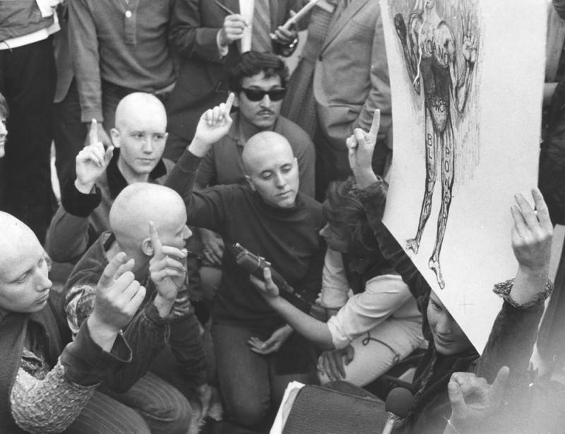 Kitty Lutesinger And Others Protesting With Shaved Heads