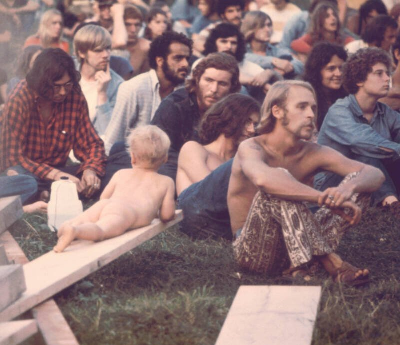 Naked Baby In Woodstock Crowd
