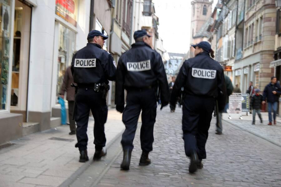 Police Officers Walking Away