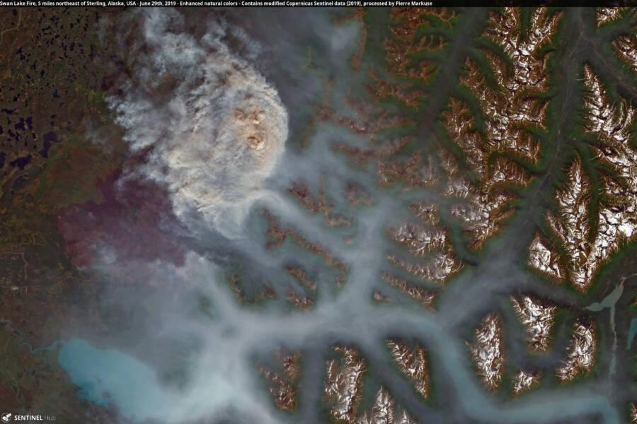 Swan Lake Fire Satellite Image