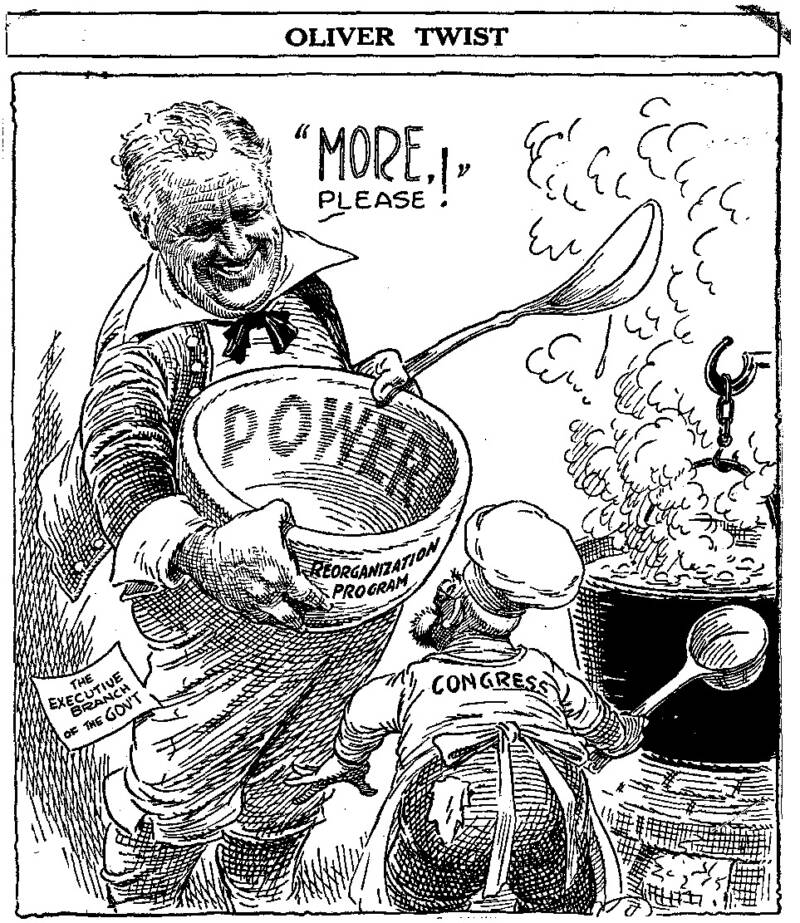 Cartoon Of FDR As Oliver Twist