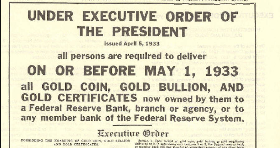 Executive Order On Gold Ownership