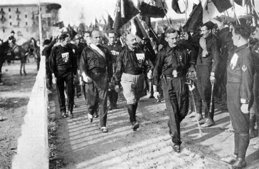 Mussolini Blackshirts Marching