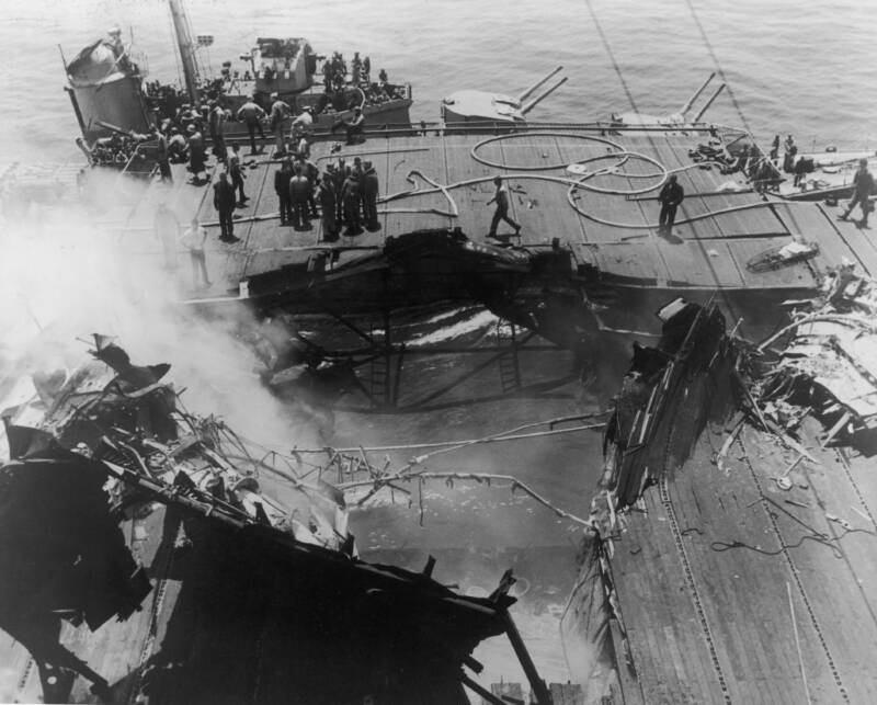 Aftermath Of Kamikaze Attack