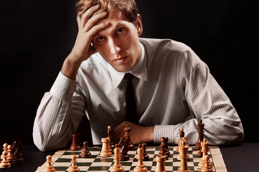 Bobby Fischer Sitting At A Chess Board