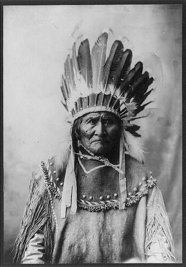 Geronimo Wearing A Headdress