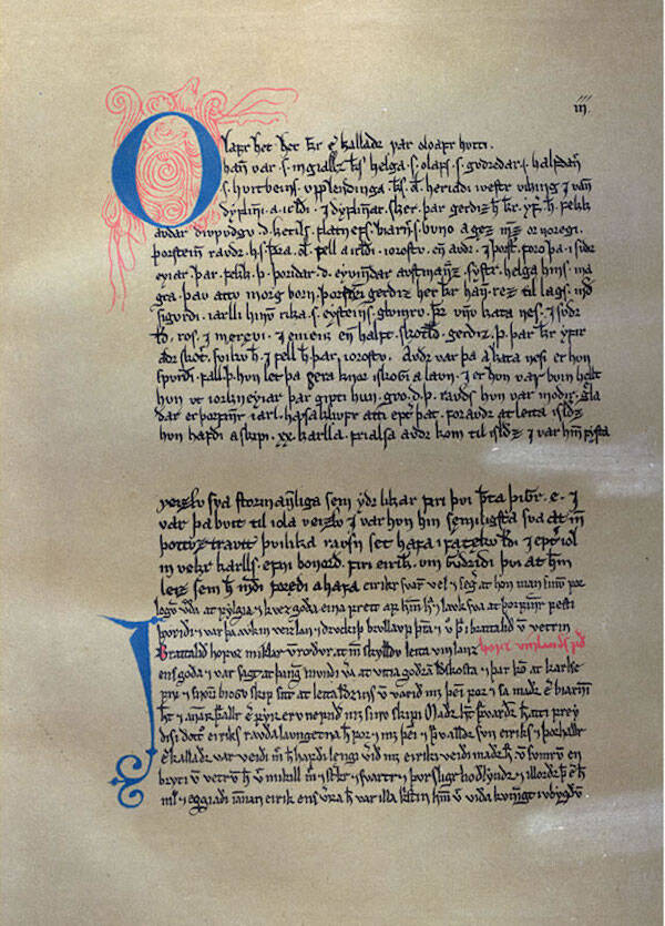 A Page From Erik The Red's Saga