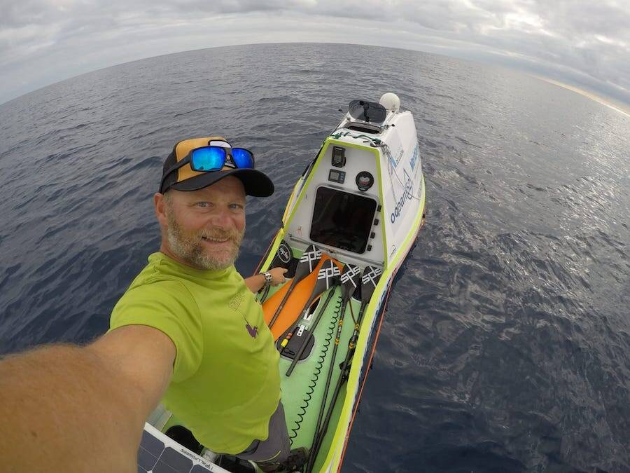 De la Rosa's High Tech Paddle Board At Sea