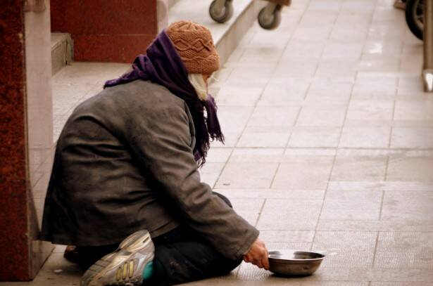 Homeless Person Begging